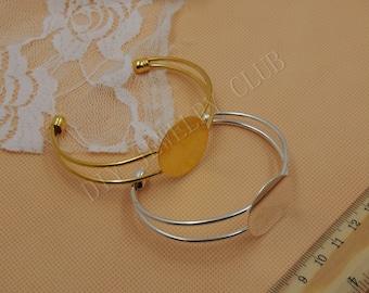 10PCS 25MM/1 inch Round Shallow Bezel Adjustable Cuff Bracelet Blank Bases Setting, Bracelet Pad