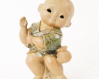 "Vtg 8"" Ceramic Dancer Genuine Hakata Doll Figurine-Japan, Dancing w/ Basket"