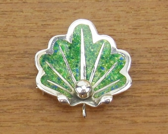 Green Enamel Vintage Sterling brooch Pendant pin hand made in Mexico silver jewelry .925 leaf shell
