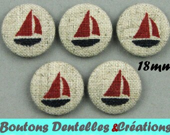 Buttons covered with linen - sea - boats - boats - 18 mm - (18-06)