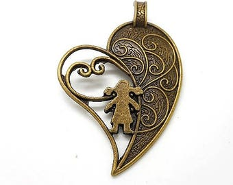 great pendant or charm heart with little girl metal bronze