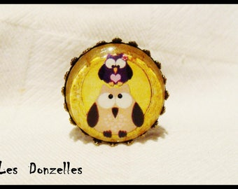 Ring cabochon - OWL Couple-