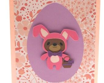 Easter greeting card, Blank card, Easter Bunny, Teddy bear dress up,3D