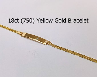 18ct 18k 750 Yellow Gold Curb Link id Bracelet Jewellery Fashion Genuine - PS62