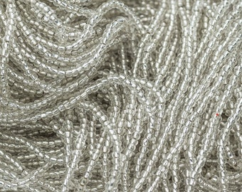 Silver Lined Clear Seed Beads,  Size 2mm, 10/0, Czech Glass,  12 Strand Hank  -B2193h