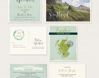 Destination wedding Scotland UK Wedding Invitation Suite Scottish  illustrated wedding invitation tartan Scotland landscape Deposit Payment