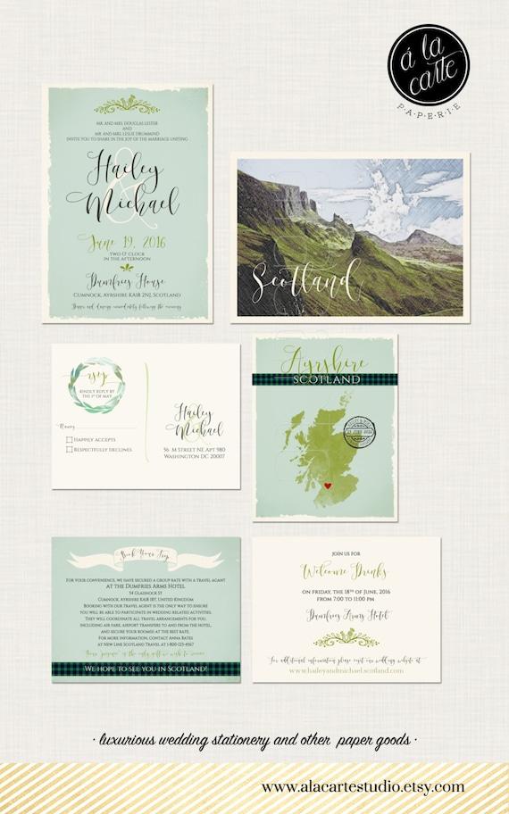 Scotland UK Destination wedding Invitation Suite Scottish