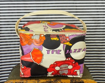 Vintage Soft Insulated Lunchbox / Cooler - Roaring 20s Revival Novelty Print