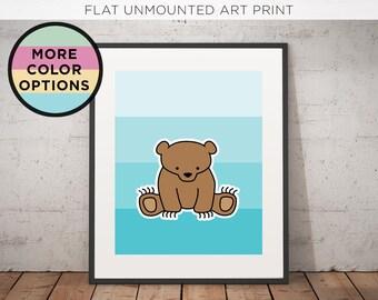Bear Print | Woodland | Nursery Art | Illustration |  Kids room | Wall Decor | Woodland Critters | Bear Illustration