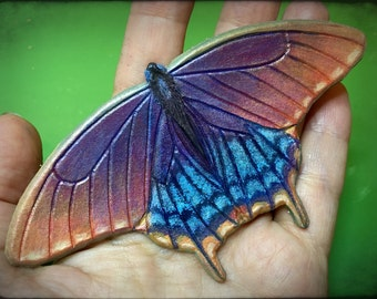Swallowtail butterfly tooled leather hair barrette  - Artisan hair barrette - Original gift for her