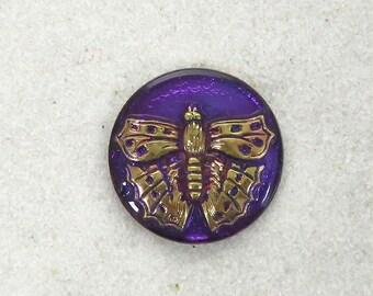"""Czech Glass Butterfly Button - 7/8"""" - 2 for 3.00 - #895 Purple"""