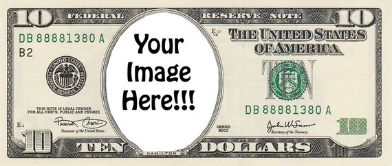 10 Dollar Bill Birthday - Edible Cake and Cupcake Photo Frame For Birthdays and Parties! - D22406