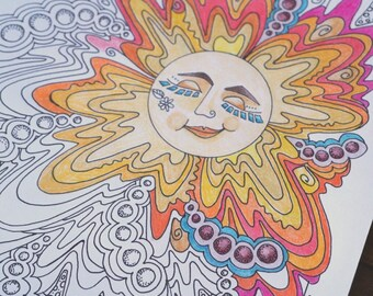 Sunshine Coloring Page, Sun Coloring Page, Printable Download, Adult Coloring Page, Sunshine Smiley Face Coloring Page, Stress Relief, DIY