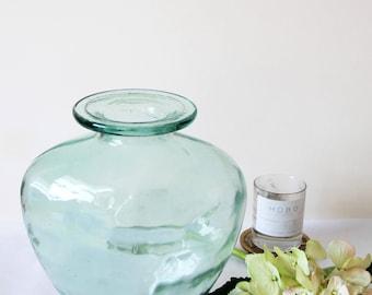 Vintage Glass Vase - Large Vintage Hand Blown Turquoise Translucent Glass Vase with Slight Dimpled Texture Effect