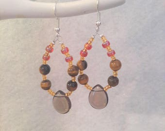 Smokey loop earrings, tigers eye earrings, ladies earrings, ladies jewellery