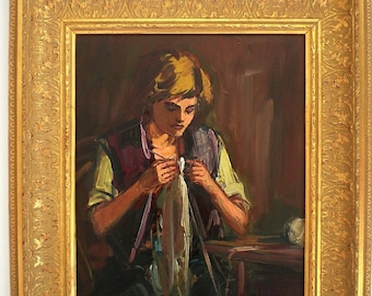 Vintage Oil Painting Portrait Impressionistic Portrait Painting Hungarian Artist