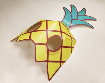 Pineaaple Mask Printable Pineaaple costume fruit mask yellow halloween