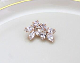 Bridal earrings studs, Rose gold earrings, Bridal jewelry, Rose gold studs, Wedding jewelry, Bridesmaid earrings, Simple earrings, Swarovski