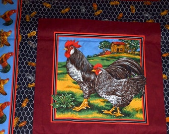 """Vintage Joan Messmore Cranston Print Works Farm Chicken fabric 90"""" x 45"""" total  print quilt cut pillow case sold by the 1/2 yd panel"""