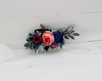 Pink royal blue flower comb Hair flowers Bridal floral headpiece Wedding hairpiece Floral accessories Bridesmaid comb Outdoor Flower girl
