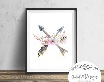 Floral Arrow Cross - Wall Art Print