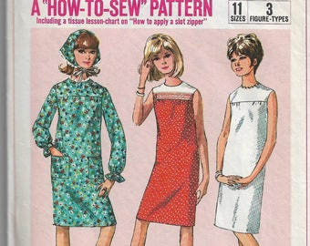 Sewing pattern - day dress, easy dress pattern -  Vintage Sewing Pattern - Teen Size 14 Bust 34 - beginners sewing pattern