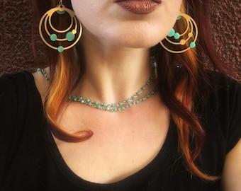 Cosmos Hoop Earrings - Gold and Teal