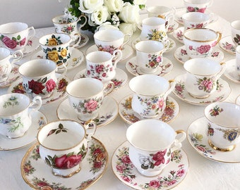 Mismatched Tea Cups and Saucers, Vintage Teacups, Mix and Match, Bridal Shower, Tea Party Set