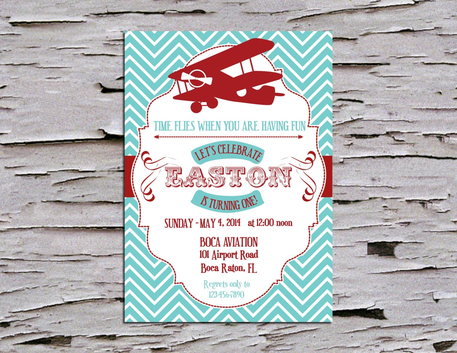 Vintage First Birthday Party Invitation Airplane Time
