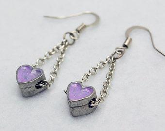 Trapeze Purple Heart Earrings in Silver - Silver Heart Earrings. Purple Earrings. Painted Trapeze Earrings. OOAK Gift. Valentine's Day Gift.