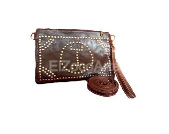 Elegantly crafted rectangular handbag made by goat leather