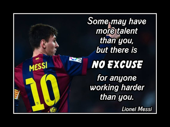 Inspirational Messi Quote Wall Art Soccer Motivation Poster