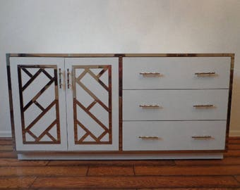 Cabinet Chinese Chippendale Etagere Chest Vintage Chrome Console Buffet Server Dry Bar Bamboo Dresser Storage Chinoiserie Boho Chic Server