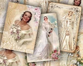 Wedding Vintage - digital collage sheet - set of 6 - Printable Download