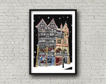 The Rows, Chester at night - Print