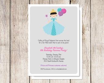 Princess party invitation, princess birthday party invitation,  printable princess party invitation, princess party printable, custom colors