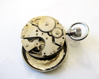 Vintage Sportex Swiss Made Pocket Watch Movement, Stem, and back case, For Repair, or Steampunk Altered Art or Jewelry 3B141