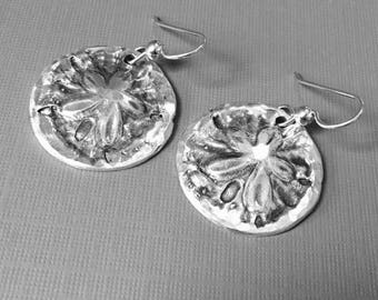 Boho Rustic - Sand dollar - 999 Fine Sterling Silver Circle Drop Earrings- Hand Created- Spring and Summer here I come...