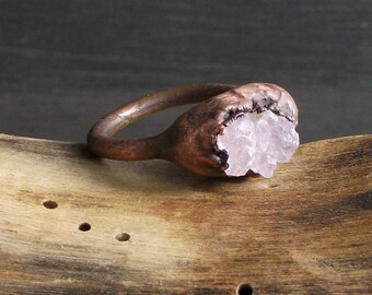 Rose Quartz Copper Ring Raw Rough Stone Jewelry Size 5.5 Crystal Copper Gemstone Ring Artisan Handmade Midwest Alchemy