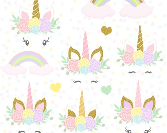 Unicorns clipart, Gold Glitter Unicorns, Unicorn head, Unicorn scrapbook, Unicorn clipart, Rainbow clipart, Unicorn Digital Paper Pack