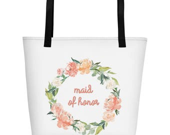 Maid of Honor Matching Wedding Party Beach Bag