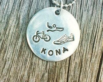 Ironman Triathlon Gift Necklace, Swim Bike Run charm Jewelry, Custom Stamped Tri Runners jewelry, marathon race triathlete gift idea for men