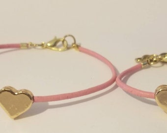 Mommy and Me Matching Heart Bracelet Set- Pink