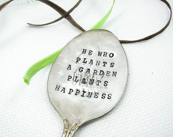 Garden Marker and Decoration. Upcycled Silverware. Repurposed Vintage Spoon. Custom Plant Stake. 006GDN