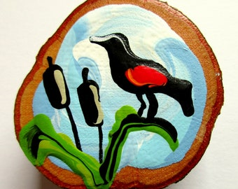 Magnet Hand-painted Art Red-winged Blackbird