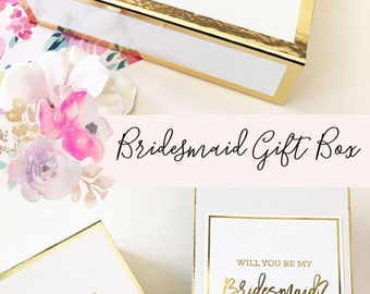 Bridesmaid Gift - Bridesmaid Box Set - Ask Bridesmaids Maid of Honor - Bridal Party Gift - Will you be my Bridesmaid  (EB3171BPW)