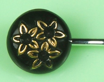 Vintage Glass Black with Gold Flowers Hairpin