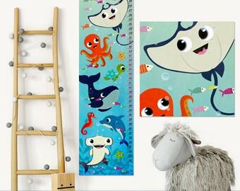 Under the Sea Nursery Decor Ocean Growth Chart Kids Height Chart Kids Growth Chart Wall Growth Chart Wall Height Chart Growth Chart Decal
