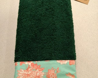 Green Embellished Hand Towel