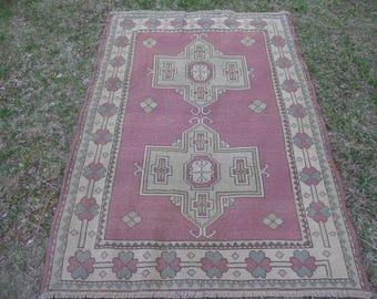 Oushak Rug, Vintage Oushak Rug, Turkish Oushak Rug, Turkish Carpet, Vintage Turkish Rug, Pale Oushak Rug, Nomadic Rug, Tribal Pattern Rug